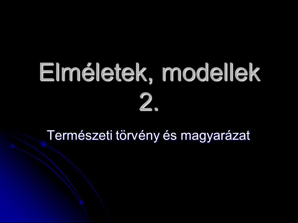 Elméletek, modellek 2. Természeti törvény és magyarázat