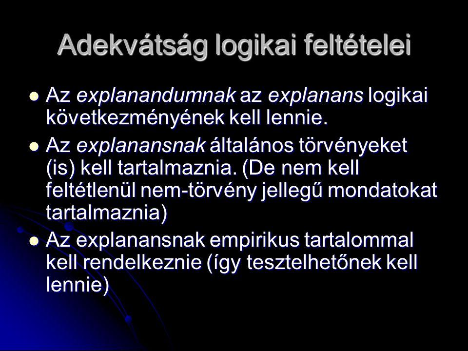 Adekvátság logikai feltételei Az explanandumnak az explanans logikai következményének kell lennie. Az explanandumnak az explanans logikai következmény