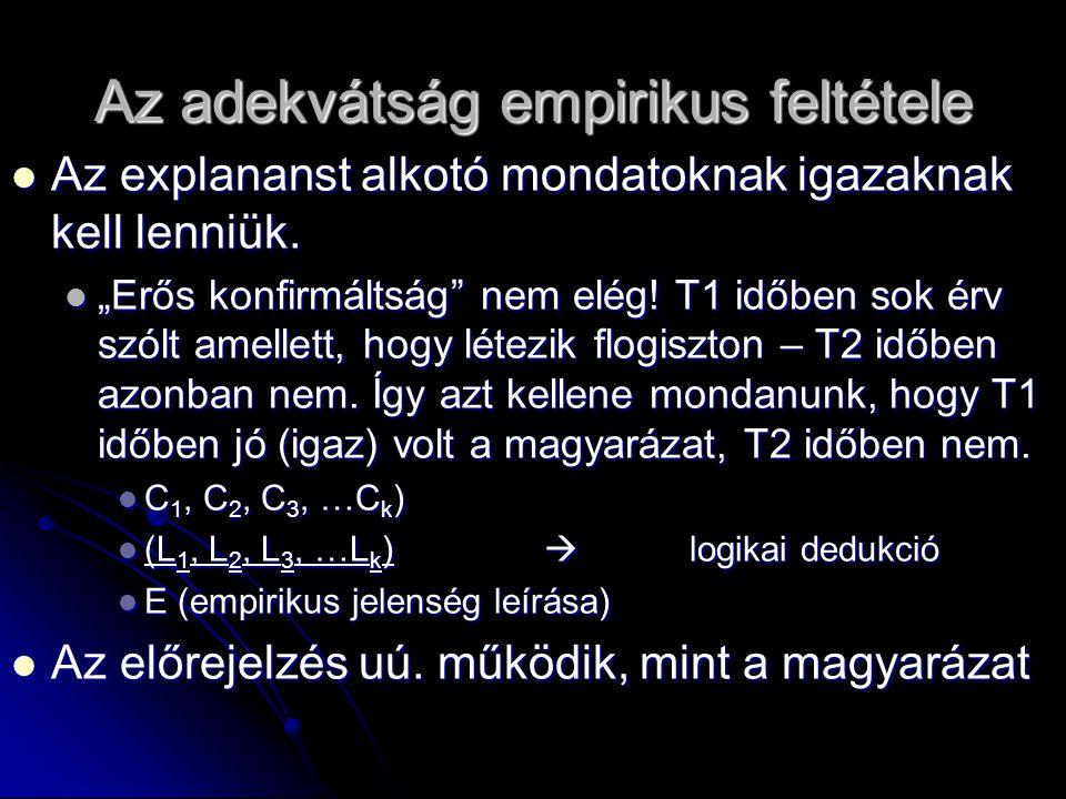 """Az adekvátság empirikus feltétele Az explananst alkotó mondatoknak igazaknak kell lenniük. Az explananst alkotó mondatoknak igazaknak kell lenniük. """"E"""