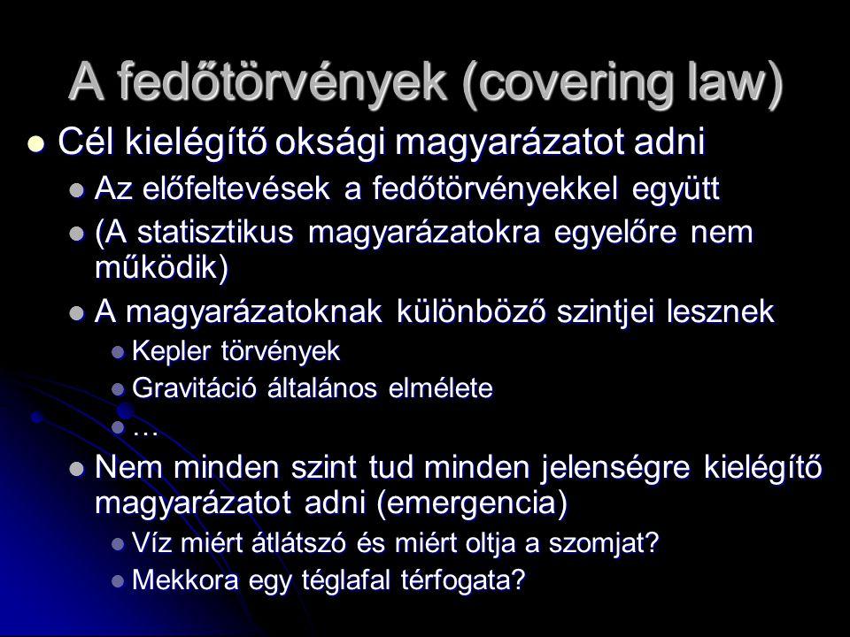 A fedőtörvények (covering law) Cél kielégítő oksági magyarázatot adni Cél kielégítő oksági magyarázatot adni Az előfeltevések a fedőtörvényekkel együt