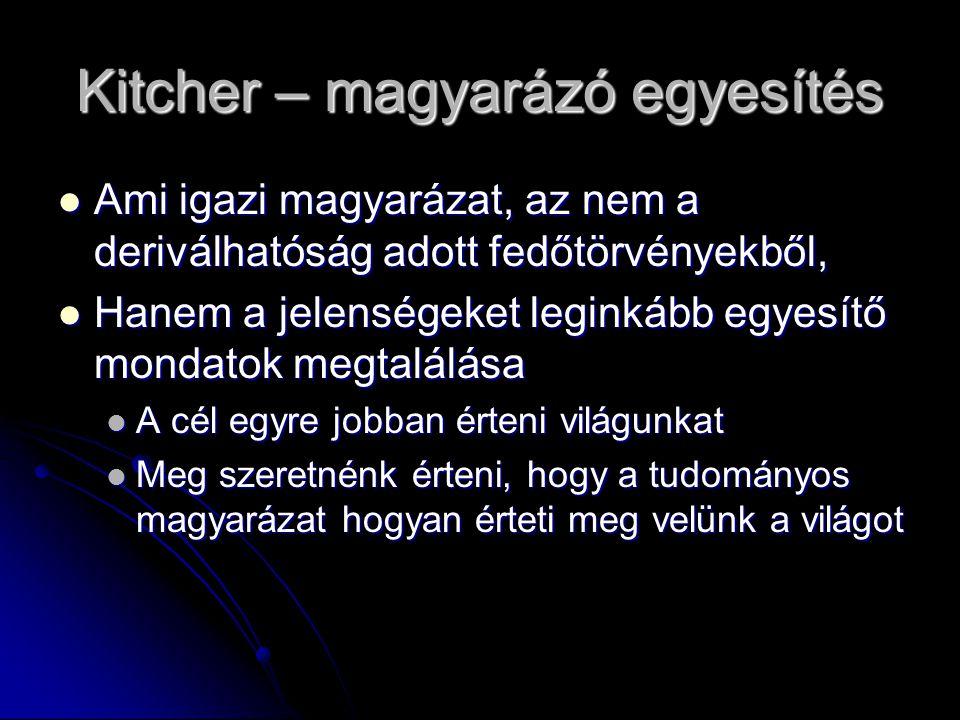 Kitcher – magyarázó egyesítés Ami igazi magyarázat, az nem a deriválhatóság adott fedőtörvényekből, Ami igazi magyarázat, az nem a deriválhatóság adot