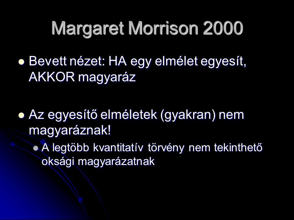 Margaret Morrison 2000 Bevett nézet: HA egy elmélet egyesít, AKKOR magyaráz Bevett nézet: HA egy elmélet egyesít, AKKOR magyaráz Az egyesítő elméletek