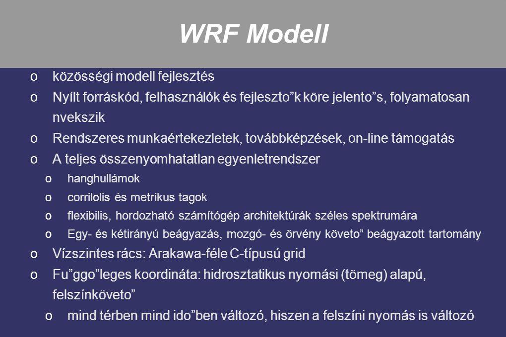 """WRF Modell oközösségi modell fejlesztés oNyílt forráskód, felhasználók és fejleszto""""k köre jelento""""s, folyamatosan nvekszik oRendszeres munkaértekezle"""