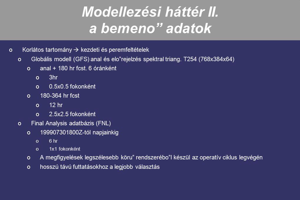 """Modellezési háttér II. a bemeno"""" adatok oKorlátos tartomány  kezdeti és peremfeltételek oGlobális modell (GFS) anal és elo""""rejelzés spektral triang."""