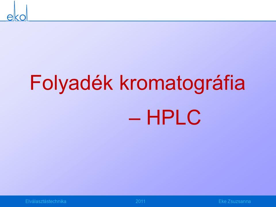 Elválasztástechnika2011Eke Zsuzsanna Folyadék kromatográfia – HPLC