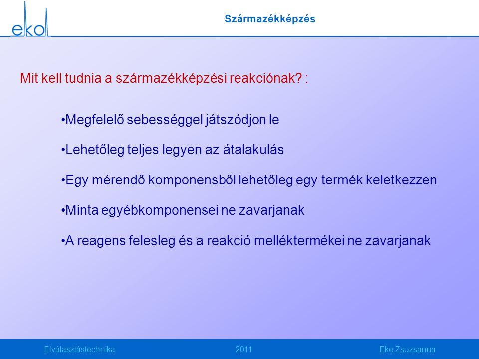 Elválasztástechnika2011Eke Zsuzsanna Származékképzés Mit kell tudnia a származékképzési reakciónak.