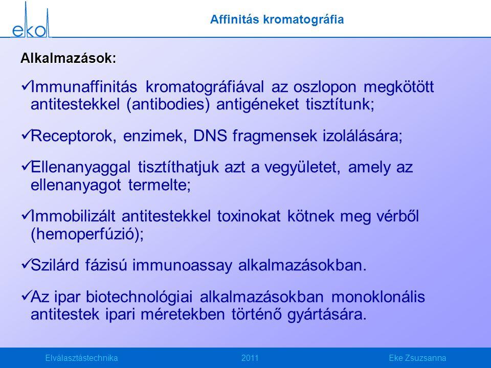 Elválasztástechnika2011Eke Zsuzsanna Alkalmazások: Immunaffinitás kromatográfiával az oszlopon megkötött antitestekkel (antibodies) antigéneket tisztí
