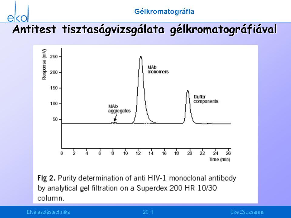 Elválasztástechnika2011Eke Zsuzsanna Antitest tisztaságvizsgálata gélkromatográfiával Gélkromatográfia