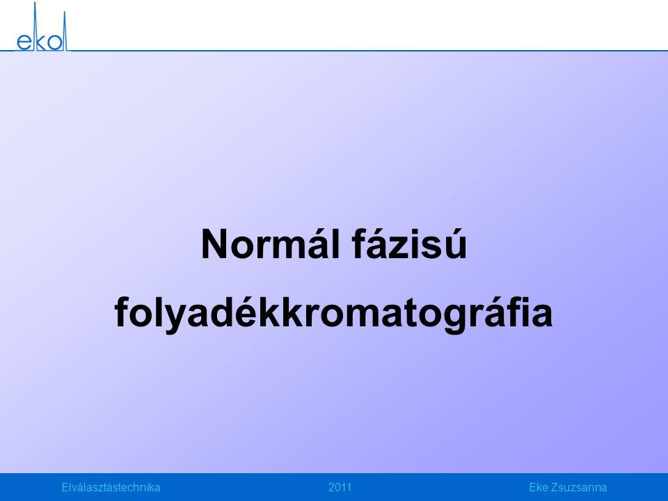Elválasztástechnika2011Eke Zsuzsanna Normál fázisú folyadékkromatográfia (NP) NP: Az álló fázis polárisabb, mint a mozgó fázis Állófázisok Szilikagél (40-50%); Alumínium-oxid (3-10%); Királis állófázis (20-25%); Módosított szilikagél (pl.