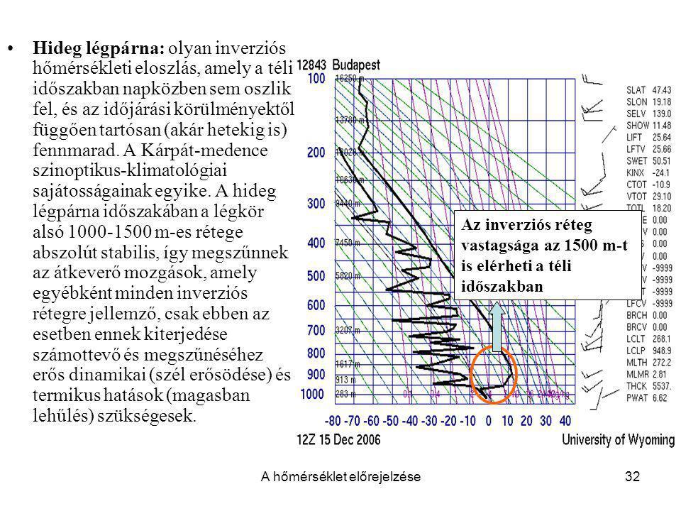 A hőmérséklet előrejelzése32 Hideg légpárna: olyan inverziós hőmérsékleti eloszlás, amely a téli időszakban napközben sem oszlik fel, és az időjárási