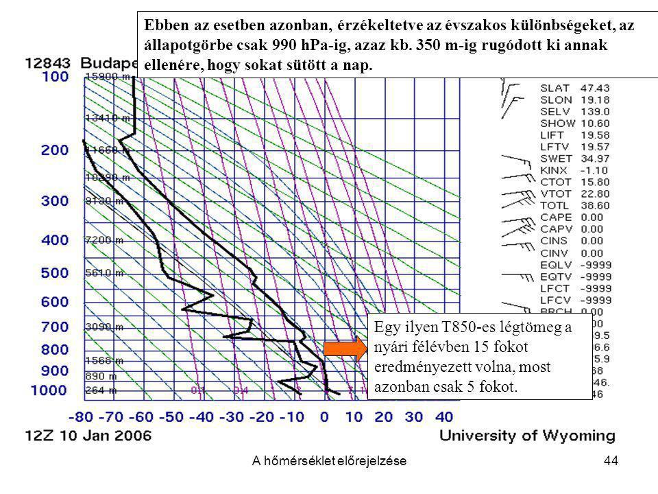 A hőmérséklet előrejelzése44 Ebben az esetben azonban, érzékeltetve az évszakos különbségeket, az állapotgörbe csak 990 hPa-ig, azaz kb. 350 m-ig rugó