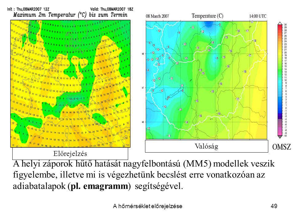 A hőmérséklet előrejelzése49 A helyi záporok hűtő hatását nagyfelbontású (MM5) modellek veszik figyelembe, illetve mi is végezhetünk becslést erre von