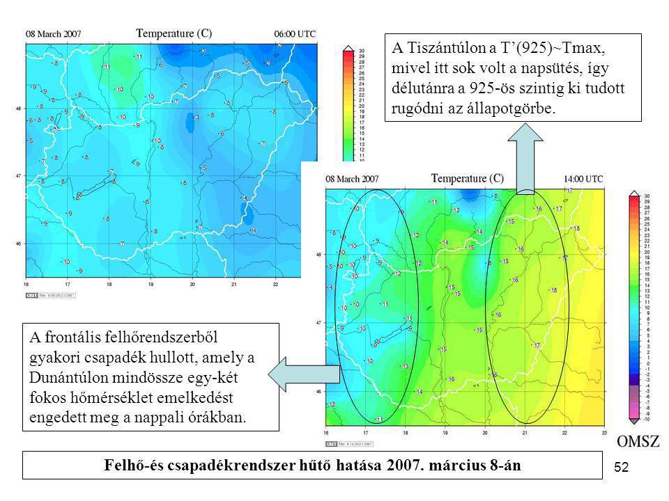 A hőmérséklet előrejelzése52 A frontális felhőrendszerből gyakori csapadék hullott, amely a Dunántúlon mindössze egy-két fokos hőmérséklet emelkedést
