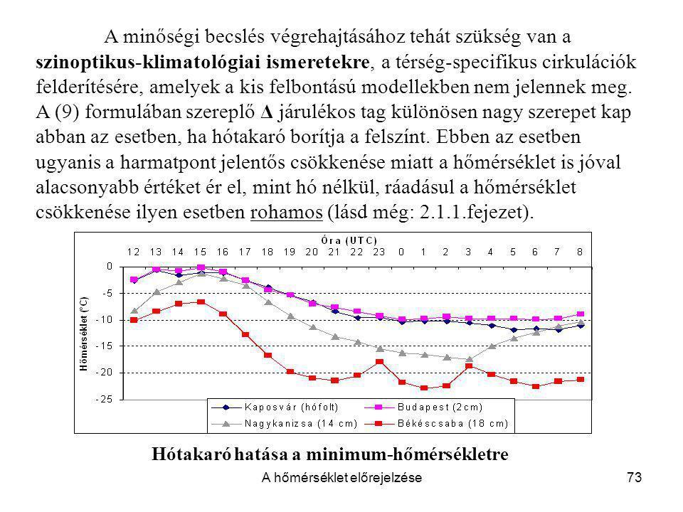 A hőmérséklet előrejelzése73 A minőségi becslés végrehajtásához tehát szükség van a szinoptikus-klimatológiai ismeretekre, a térség-specifikus cirkulá