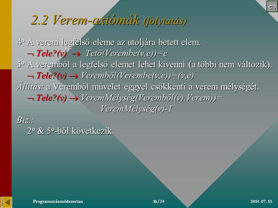 2014. 07. 13.Programozásmódszertan 2.2 2.2 Verem-axiómák 2.2 Axiómák: 1 o Az Üres verem üres.