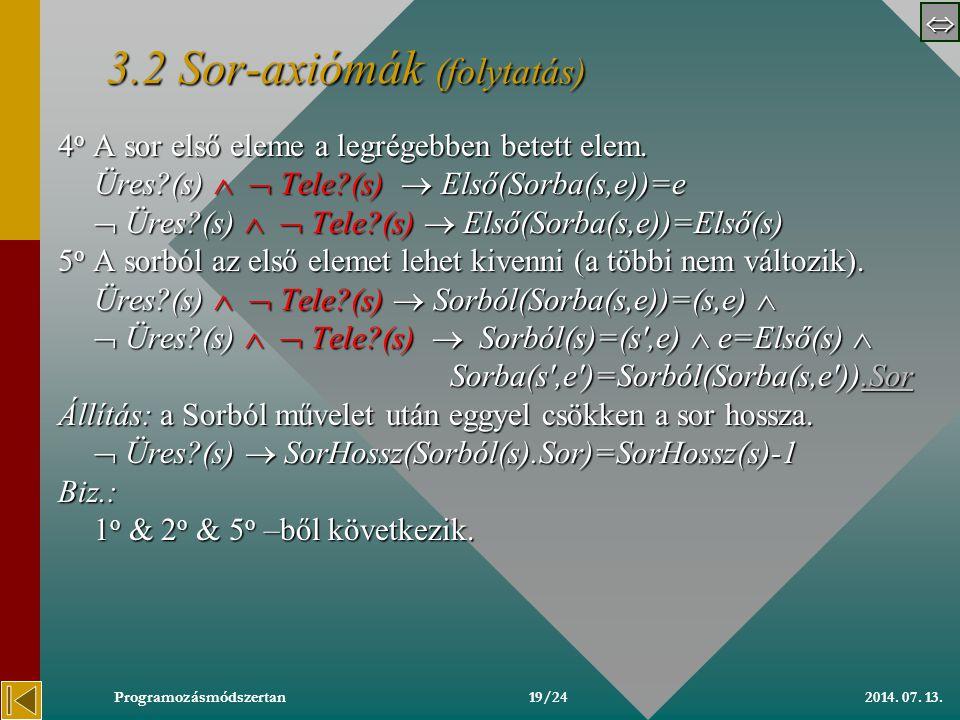  2014. 07. 13.Programozásmódszertan 3.23.2 Sor-axiómák 3.2 Axiómák: 1 o Az Üres sor üres.
