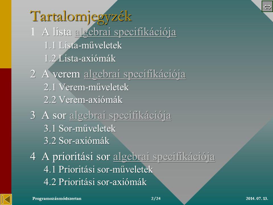 Algebrai specifikációk Szlávi Péter ELTE IK Média- és Oktatásinformatikai Tanszék szlavip@elte.hu http://people.inf.elte.hu/szlavi szlavip@elte.hu http://people.inf.elte.hu/szlavi Copyright, 1999 © Szlávi Péter