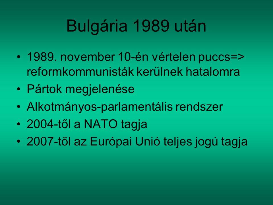 Bulgária 1989 után 1989. november 10-én vértelen puccs=> reformkommunisták kerülnek hatalomra Pártok megjelenése Alkotmányos-parlamentális rendszer 20