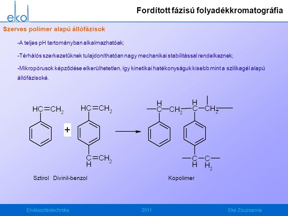 Elválasztástechnika2011Eke Zsuzsanna Szerves polimer alapú állófázisok -A teljes pH tartományban alkalmazhatóak; -Térhálós szerkezetűknek tulajdoníthatóan nagy mechanikai stabilitással rendelkeznek; -Mikropórusok képződése elkerülhetetlen, így kinetikai hatékonyságuk kisebb mint a szilikagél alapú állófázisoké.