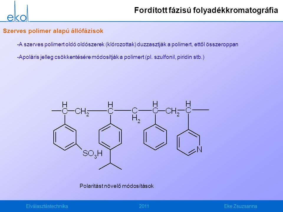 Elválasztástechnika2011Eke Zsuzsanna Szerves polimer alapú állófázisok -A szerves polimert oldó oldószerek (klórozottak) duzzasztják a polimert, ettől összeroppan -Apoláris jelleg csökkentésére módosítják a polimert (pl.