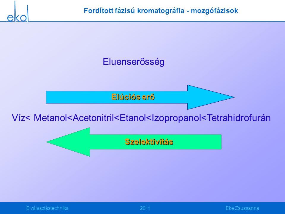 Elválasztástechnika2011Eke Zsuzsanna Eluenserősség Víz< Metanol<Acetonitril<Etanol<Izopropanol<Tetrahidrofurán Elúciós erő Szelektivitás Fordított fázisú kromatográfia - mozgófázisok