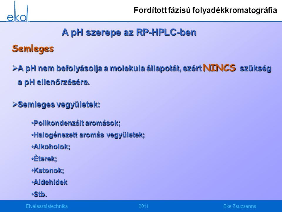 Elválasztástechnika2011Eke Zsuzsanna A pH szerepe az RP-HPLC-ben Semleges  A pH nem befolyásolja a molekula állapotát, ezért NINCS szükség a pH ellenőrzésére.