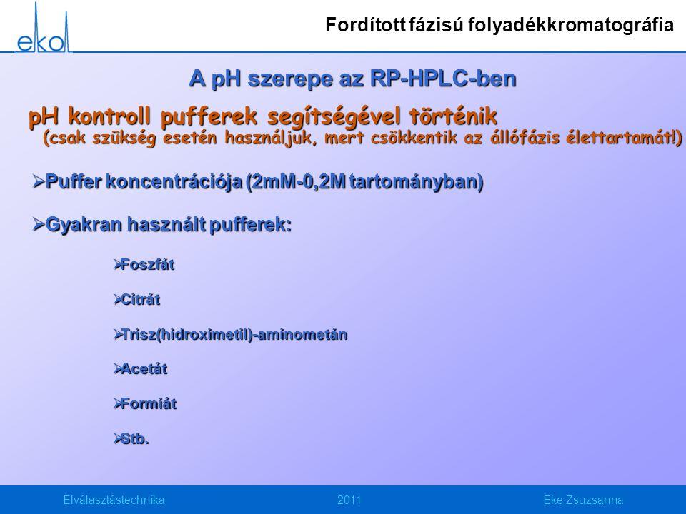Elválasztástechnika2011Eke Zsuzsanna A pH szerepe az RP-HPLC-ben pH kontroll pufferek segítségével történik (csak szükség esetén használjuk, mert csökkentik az állófázis élettartamát!)  Puffer koncentrációja (2mM-0,2M tartományban)  Gyakran használt pufferek:  Foszfát  Citrát  Trisz(hidroximetil)-aminometán  Acetát  Formiát  Stb.