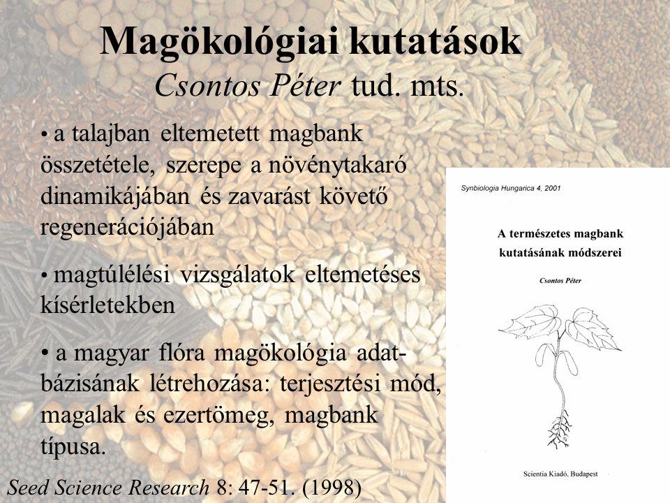Magökológiai kutatások Csontos Péter tud. mts. a talajban eltemetett magbank összetétele, szerepe a növénytakaró dinamikájában és zavarást követő rege