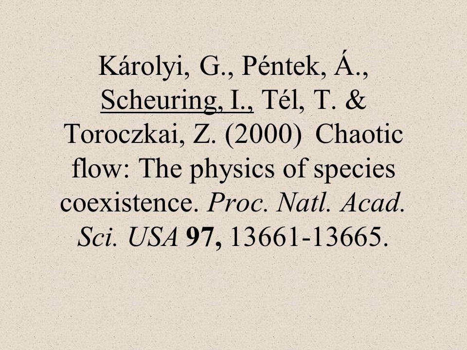 Károlyi, G., Péntek, Á., Scheuring, I., Tél, T. & Toroczkai, Z. (2000) Chaotic flow: The physics of species coexistence. Proc. Natl. Acad. Sci. USA 97