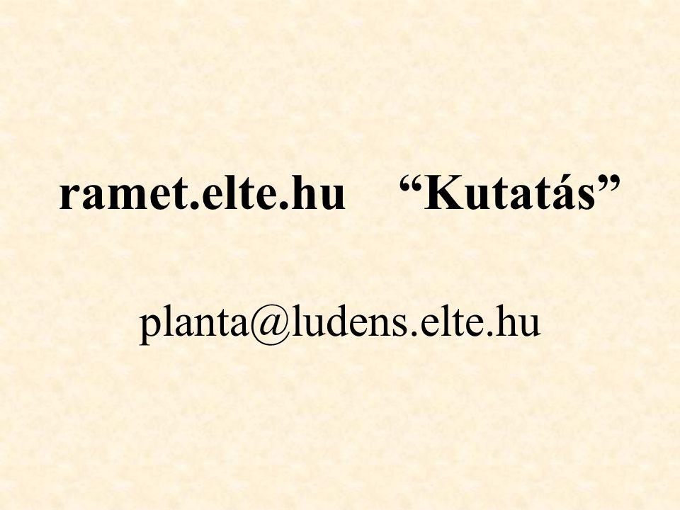 "ramet.elte.hu ""Kutatás"" planta@ludens.elte.hu"