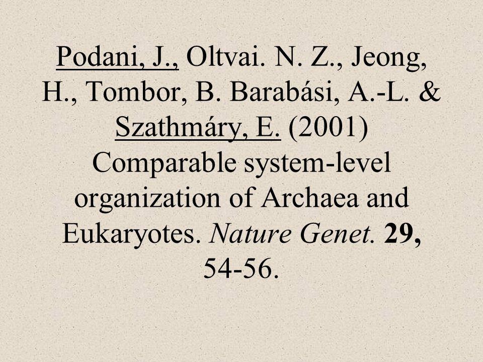 Podani, J., Oltvai. N. Z., Jeong, H., Tombor, B. Barabási, A.-L. & Szathmáry, E. (2001) Comparable system-level organization of Archaea and Eukaryotes