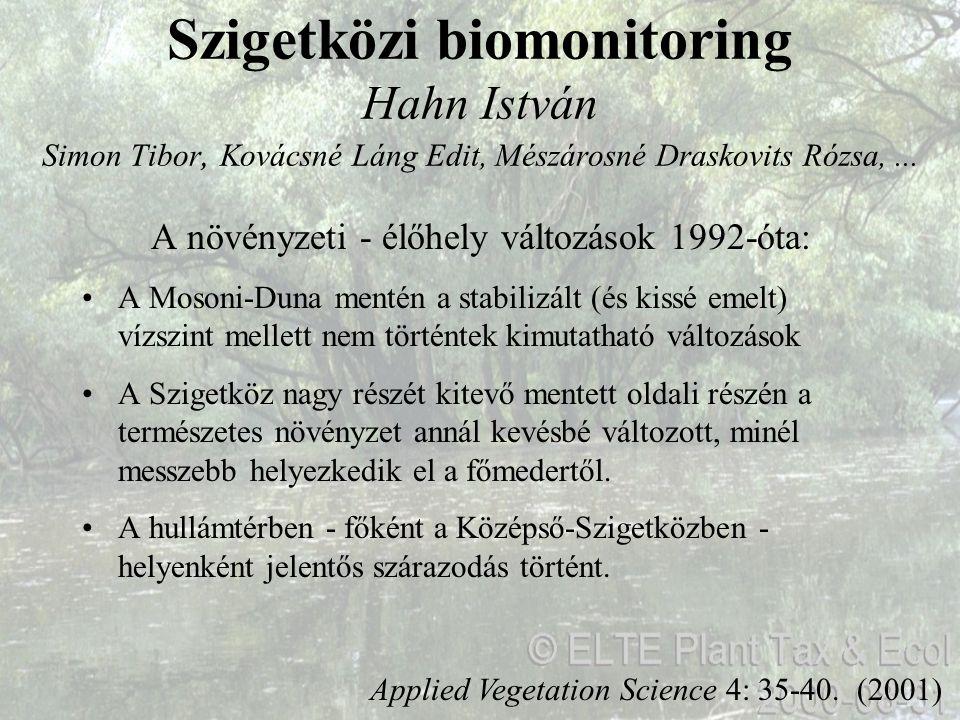 Szigetközi biomonitoring Hahn István Simon Tibor, Kovácsné Láng Edit, Mészárosné Draskovits Rózsa,... Applied Vegetation Science 4: 35-40. (2001) A nö