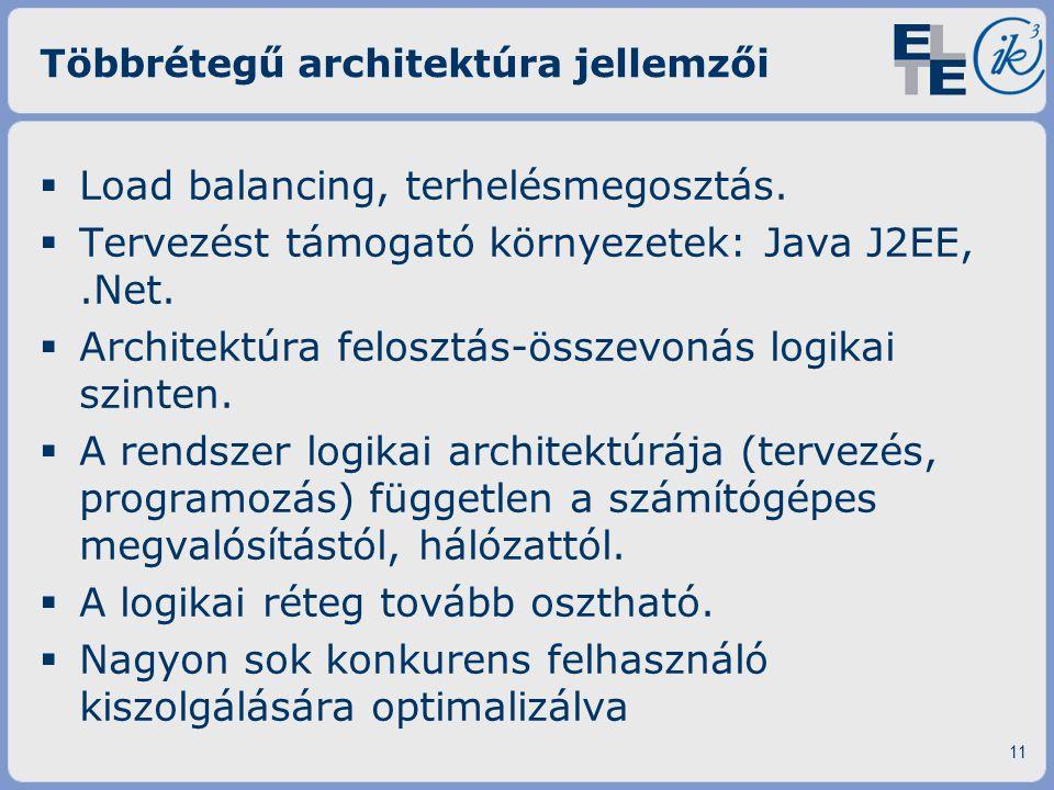Többrétegű architektúra jellemzői  Load balancing, terhelésmegosztás.  Tervezést támogató környezetek: Java J2EE,.Net.  Architektúra felosztás-össz