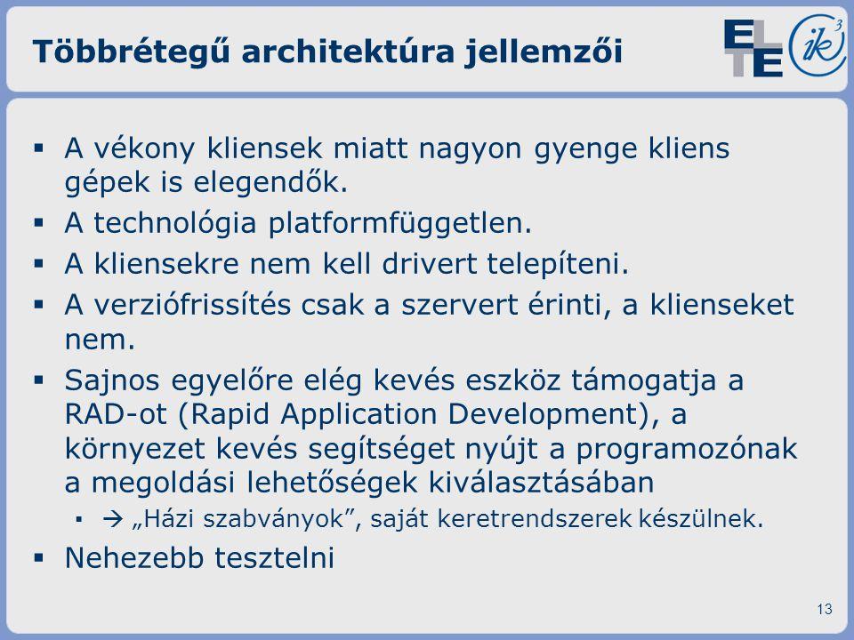 Többrétegű architektúra jellemzői  A vékony kliensek miatt nagyon gyenge kliens gépek is elegendők.  A technológia platformfüggetlen.  A kliensekre