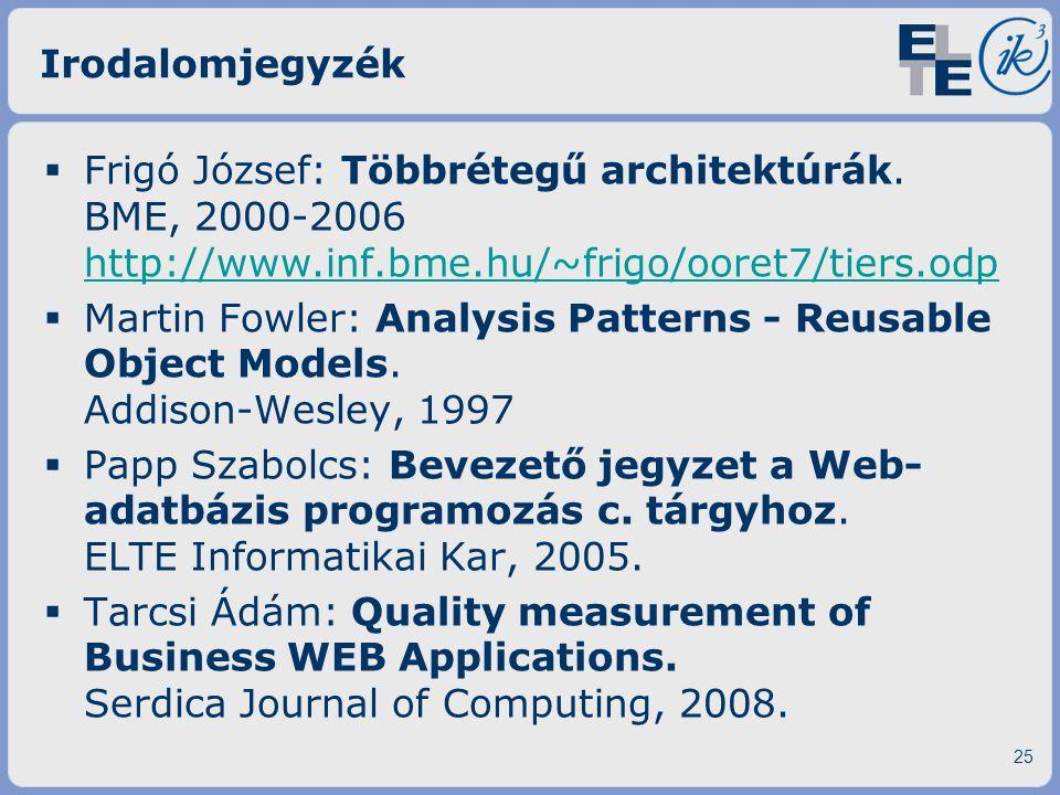 Irodalomjegyzék  Frigó József: Többrétegű architektúrák. BME, 2000-2006 http://www.inf.bme.hu/~frigo/ooret7/tiers.odp http://www.inf.bme.hu/~frigo/oo