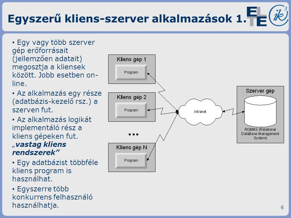 Egy vagy több szerver gép erőforrásait (jellemzően adatait) megosztja a kliensek között. Jobb esetben on- line. Az alkalmazás egy része (adatbázis-kez