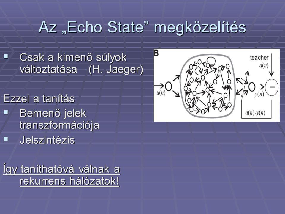 """Az """"Echo State megközelítés  Csak a kimenő súlyok változtatása(H."""