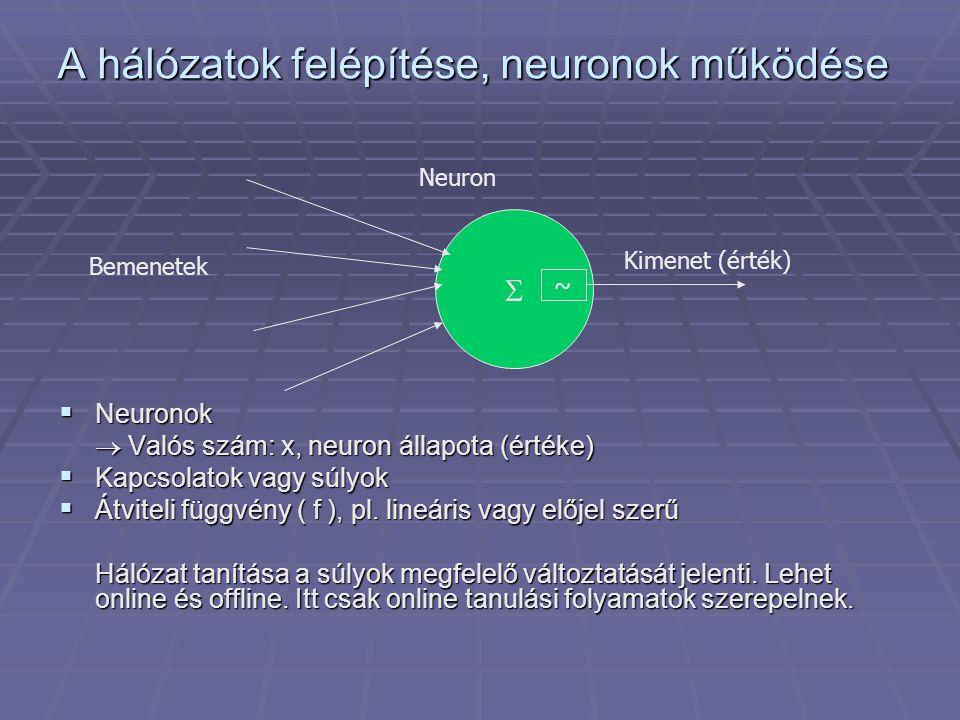 Neuronok működése A neuron értékének kiszámítása  Alapeset x = f ( hozzá érkező súlyozott összeg )  Információt őriz előző állapotáról (szivárgó integrátor), különböző lehetőségek pl.
