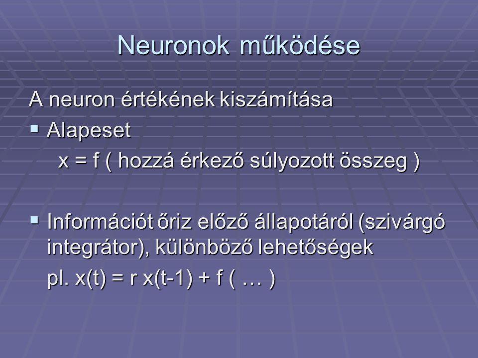 Előrecsatolt (feed-forward) hálózatok