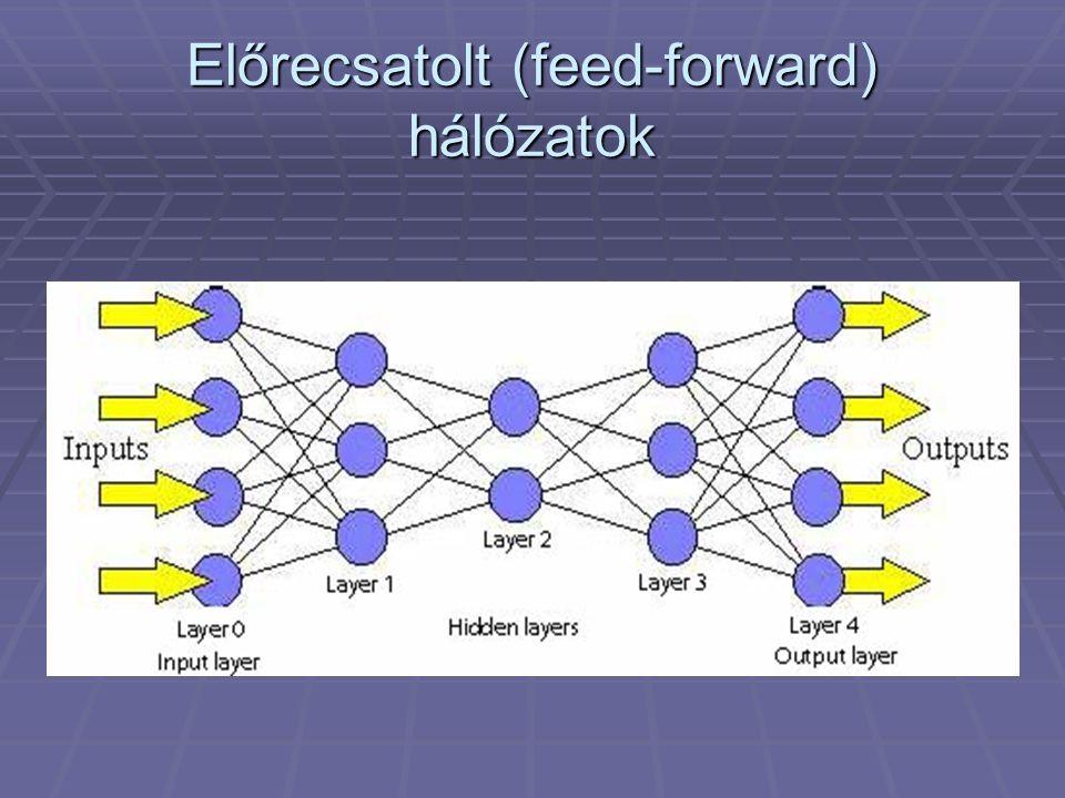Előrecsatolt hálózatok jellemzői  Neuronok rétegekben  Bemeneti, kimeneti és rejtett rétegek  Rétegeken belül a neuronok nem hatnak egymásra  Az n-ik rétegre csak az n-1-ik réteg hat  A neuronok értékét a bemenetek egyértelműen meghatározzák (függvény tulajdonság)  1 rejtett réteggel bármely folytonos függvény előállítására alkalmasak  2 rejtett réteggel gyakorlatilag minden függvény megvalósítható  Triviálisan taníthatók