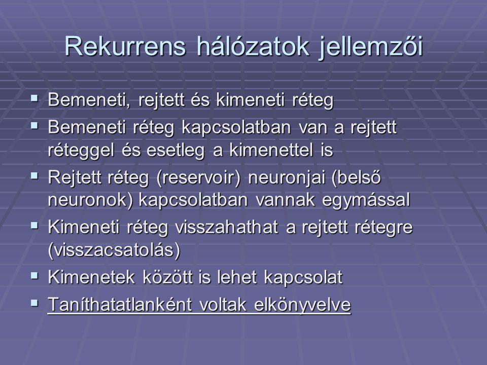 Rekurrens hálózatok jellemzői  A rejtett és a kimeneti neuronok értéke mindenképpen függ a hálózat előző állapotától  Belső dinamika megléte  A reservoir szűri a bemenő jeleket  Késlelteti, simítja  Van frekvencia karakterisztikája