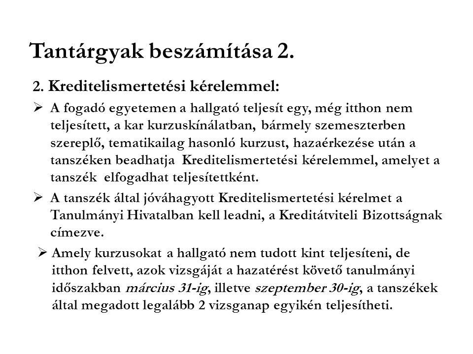 Tantárgyak beszámítása 2.2.