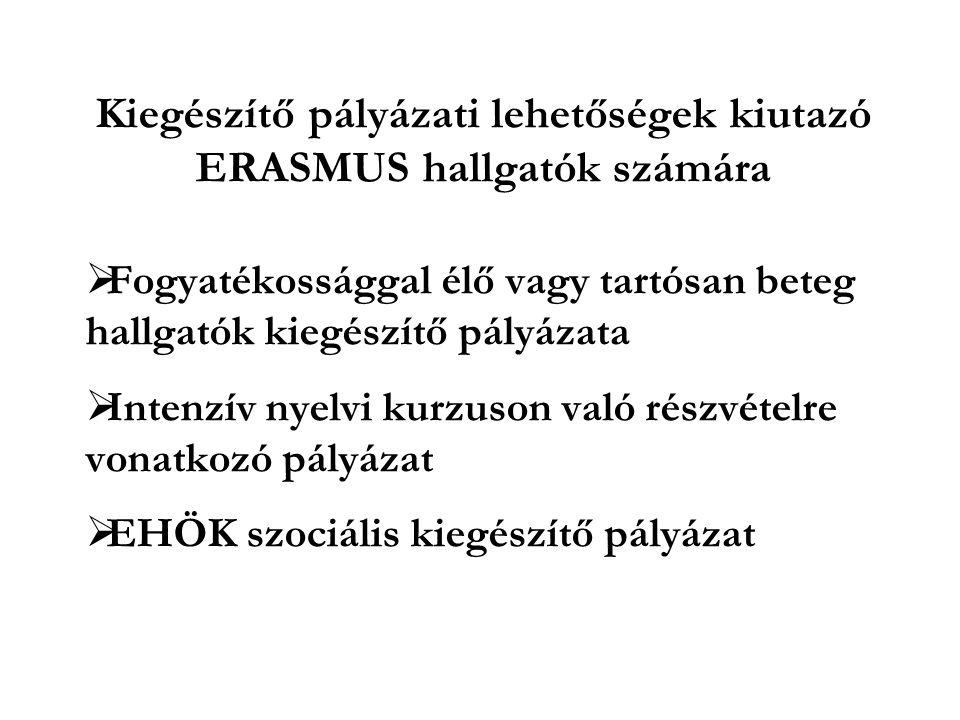 Kiegészítő pályázati lehetőségek kiutazó ERASMUS hallgatók számára  Fogyatékossággal élő vagy tartósan beteg hallgatók kiegészítő pályázata  Intenzív nyelvi kurzuson való részvételre vonatkozó pályázat  EHÖK szociális kiegészítő pályázat