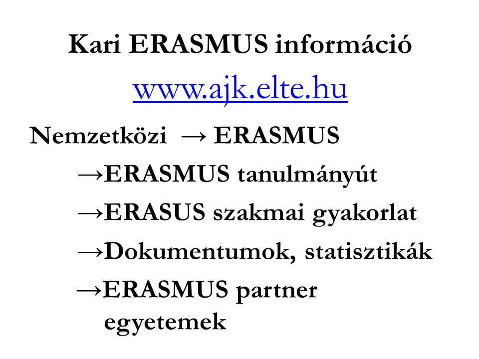 Kari ERASMUS információ www.ajk.elte.hu Nemzetközi → ERASMUS →ERASMUS tanulmányút →ERASUS szakmai gyakorlat →Dokumentumok, statisztikák →ERASMUS partner egyetemek