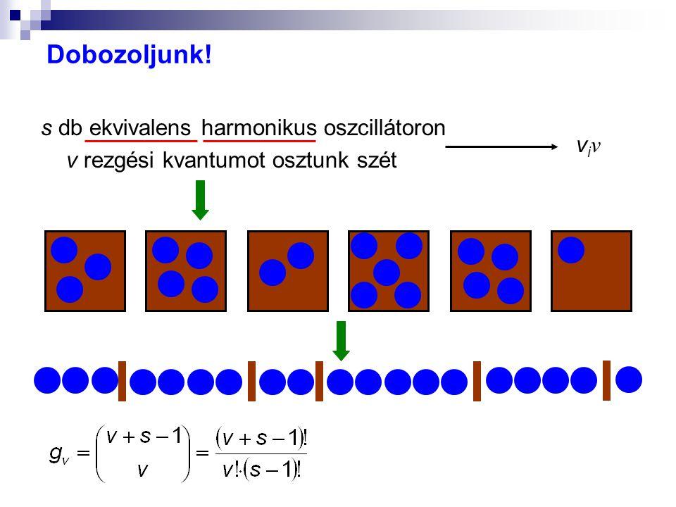 Dobozoljunk! s db ekvivalens harmonikus oszcillátoron v rezgési kvantumot osztunk szét viνviν