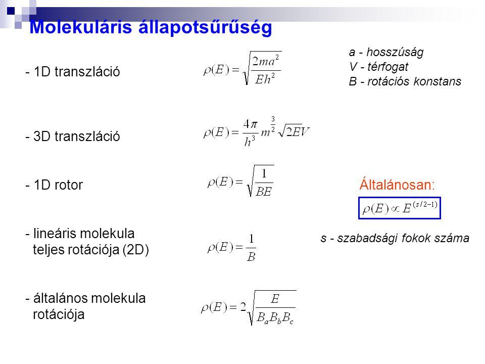 Molekuláris állapotsűrűség - 1D transzláció - 3D transzláció - 1D rotor - lineáris molekula teljes rotációja (2D) - általános molekula rotációja Által