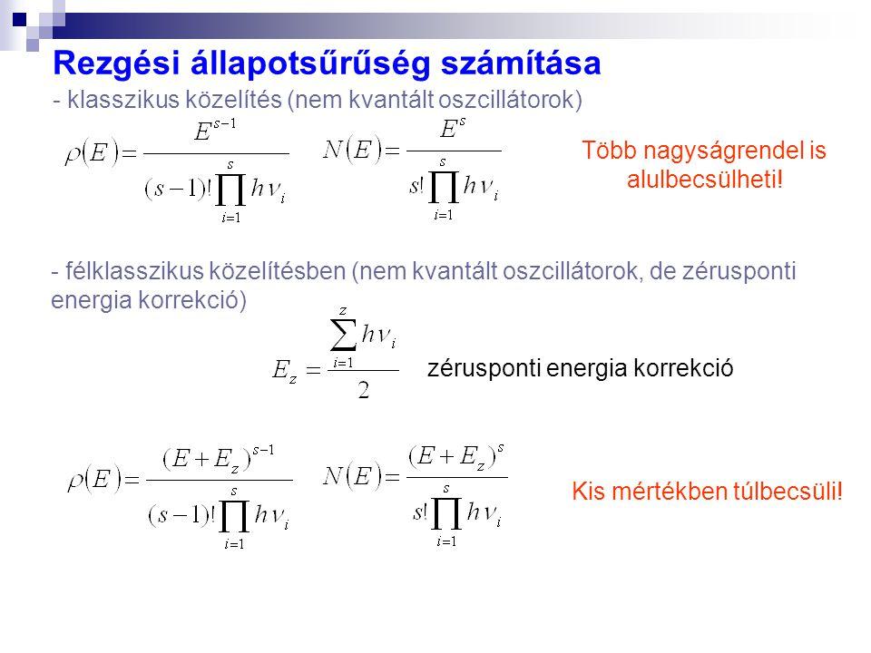 Rezgési állapotsűrűség számítása - klasszikus közelítés (nem kvantált oszcillátorok) Több nagyságrendel is alulbecsülheti! - félklasszikus közelítésbe