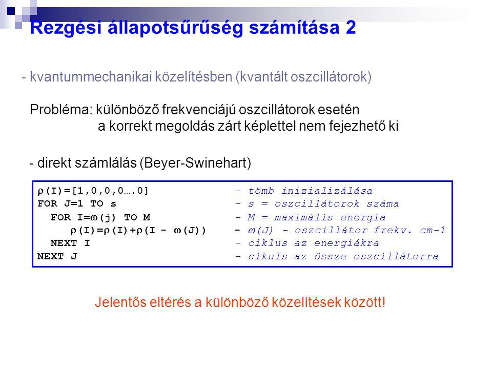 Rezgési állapotsűrűség számítása 2 - direkt számlálás (Beyer-Swinehart)  (I)=[1,0,0,0….0]- tömb inizializálása FOR J=1 TO s- s = oszcillátorok száma