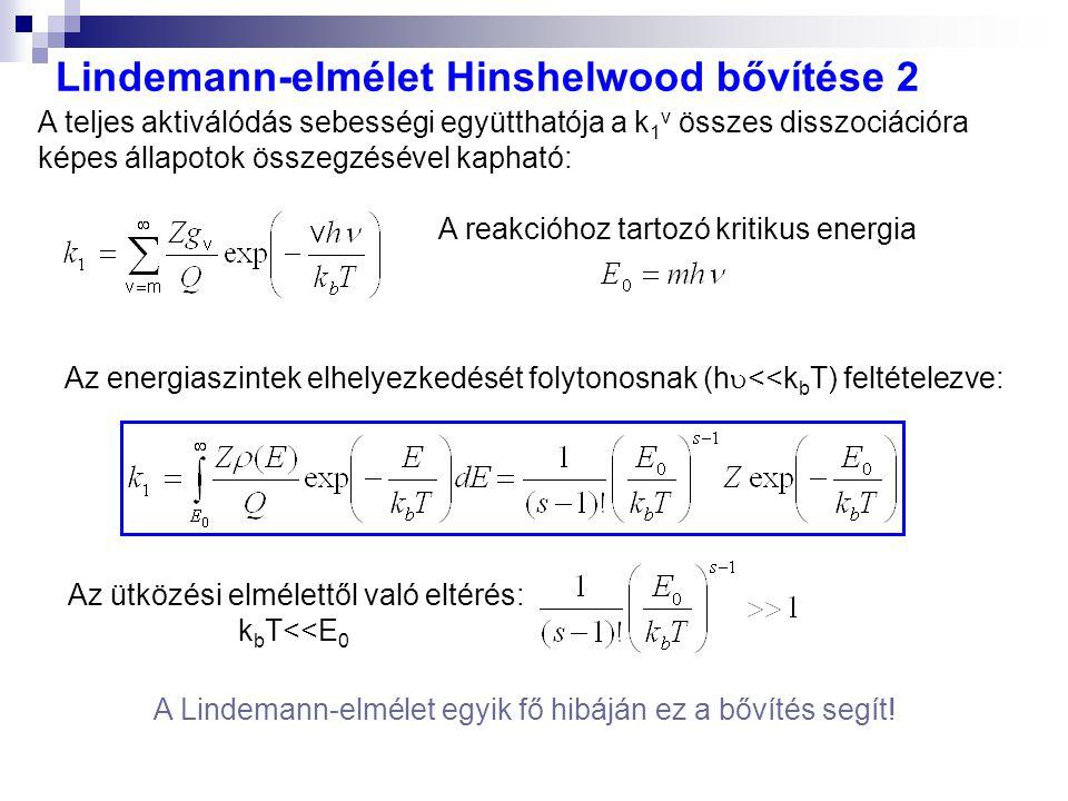 Lindemann-elmélet Hinshelwood bővítése 2 A Lindemann-elmélet egyik fő hibáján ez a bővítés segít! A reakcióhoz tartozó kritikus energia A teljes aktiv