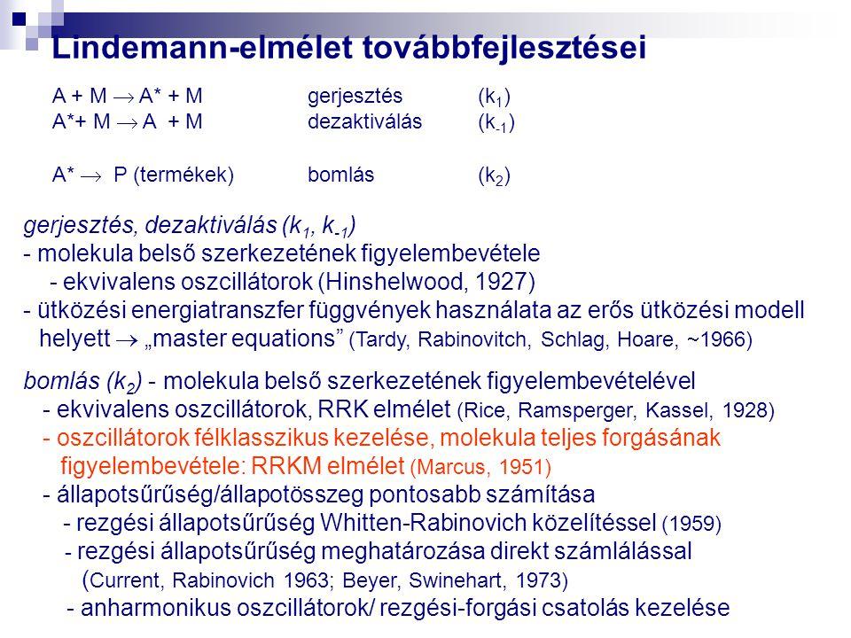 """Lindemann-elmélet továbbfejlesztései A + M  A* + Mgerjesztés (k 1 ) A*+ M  A + Mdezaktiválás(k -1 ) A*  P (termékek)bomlás(k 2 ) gerjesztés, dezaktiválás (k 1, k -1 ) - molekula belső szerkezetének figyelembevétele - ekvivalens oszcillátorok (Hinshelwood, 1927) - ütközési energiatranszfer függvények használata az erős ütközési modell helyett  """"master equations (Tardy, Rabinovitch, Schlag, Hoare,  1966) bomlás (k 2 ) - molekula belső szerkezetének figyelembevételével - ekvivalens oszcillátorok, RRK elmélet (Rice, Ramsperger, Kassel, 1928) - oszcillátorok félklasszikus kezelése, molekula teljes forgásának figyelembevétele: RRKM elmélet (Marcus, 1951) - állapotsűrűség/állapotösszeg pontosabb számítása - rezgési állapotsűrűség Whitten-Rabinovich közelítéssel (1959) - rezgési állapotsűrűség meghatározása direkt számlálással ( Current, Rabinovich 1963; Beyer, Swinehart, 1973) - anharmonikus oszcillátorok/ rezgési-forgási csatolás kezelése"""